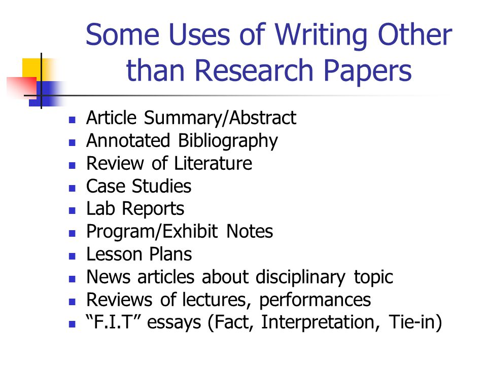 Some Uses of Writing Other than Research Papers Article Summary/Abstract Annotated Bibliography Review of Literature Case Studies Lab Reports Program/
