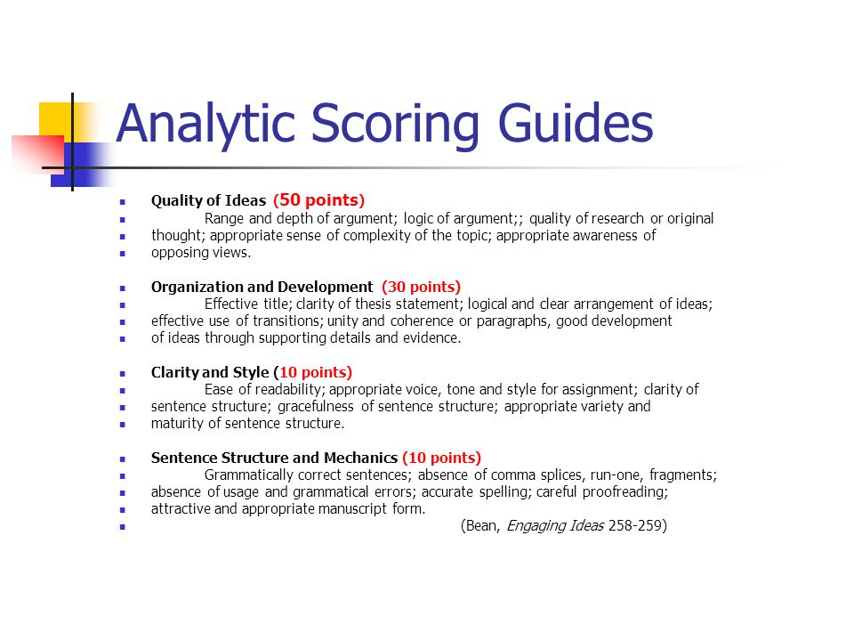 Analytic Scoring Guides Quality of Ideas ( 50 points ) Range and depth of argument; logic of argument;; quality of research or original thought; appro