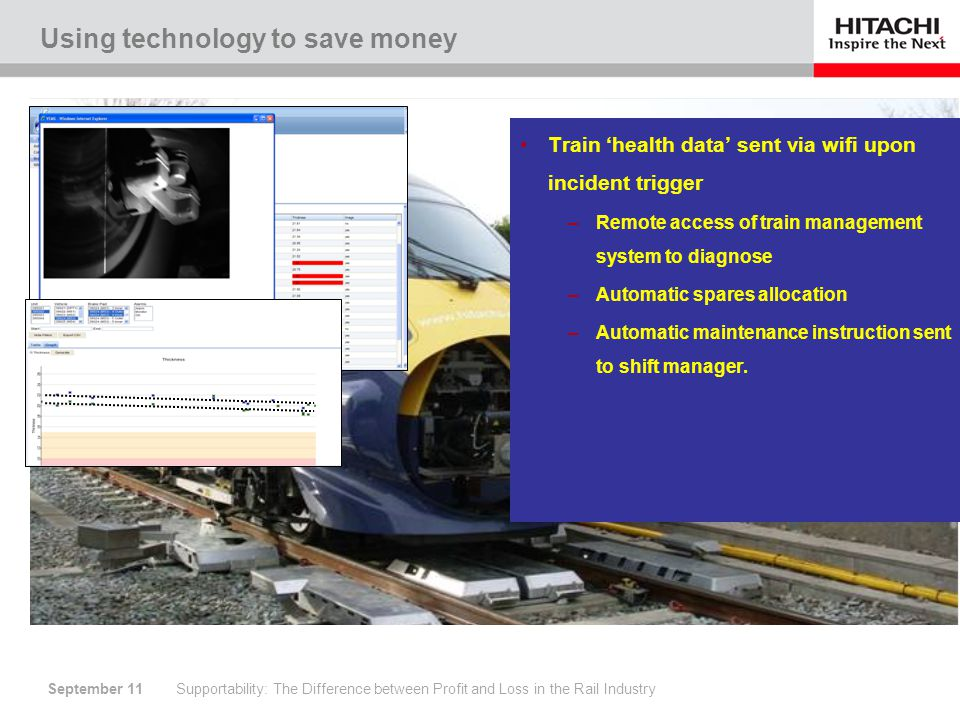 September 11 Using technology to save money Supportability: The Difference between Profit and Loss in the Rail Industry Auto inspection –key systems measured daily Brake systems Power systems –Automatic maintenance instruction sent to shift manager.