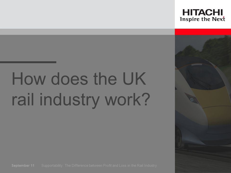 September 11 Who runs the railways Supportability: The Difference between Profit and Loss in the Rail Industry