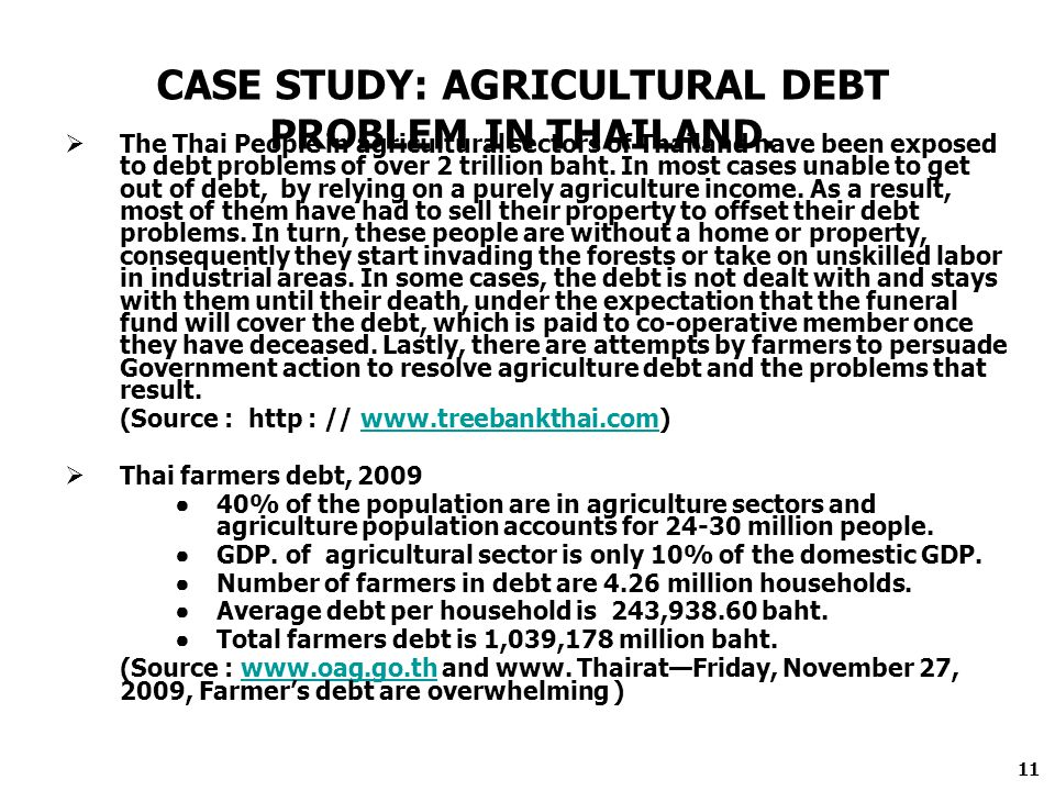 The Thai People in agricultural sectors of Thailand have been exposed to debt problems of over 2 trillion baht.