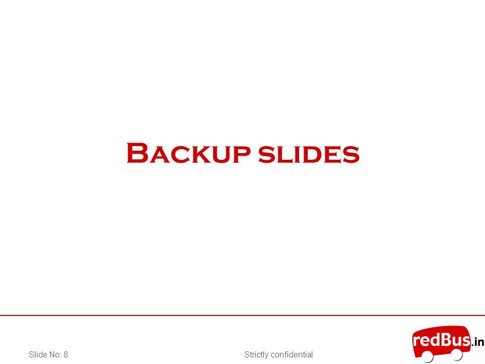 Strictly confidentialSlide No: 8 Backup slides