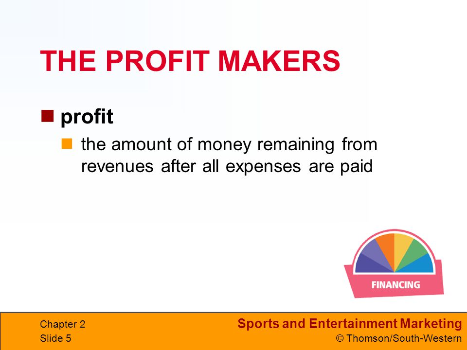 Sports and Entertainment Marketing © Thomson/South-Western Chapter 2 Slide 46 WHERE IS THE MONEY.