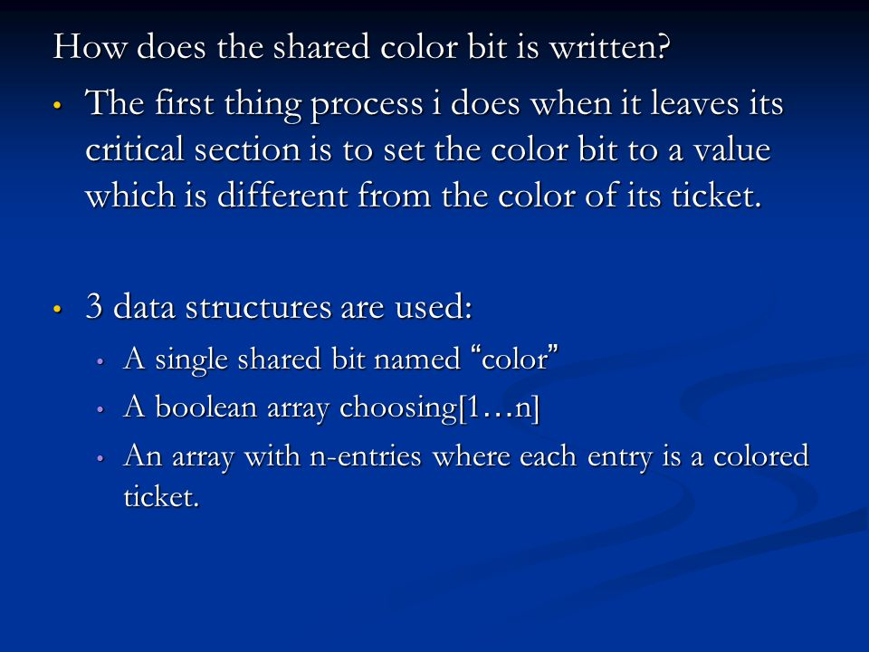 How does the shared color bit is written.