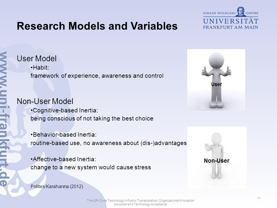 Research Models and Variables User Model Habit: framework of experience, awareness and control Non-User Model Cognitive-based Inertia: being conscious of not taking the best choice Behavior-based Inertia: routine-based use, no awareness about (dis-)advantages Affective-based Inertia: change to a new system would cause stress Polites/Karahanna (2012) The QR-Code Technology in Public Transportation: Organizational Innovation Adoption and Technology Acceptance 11