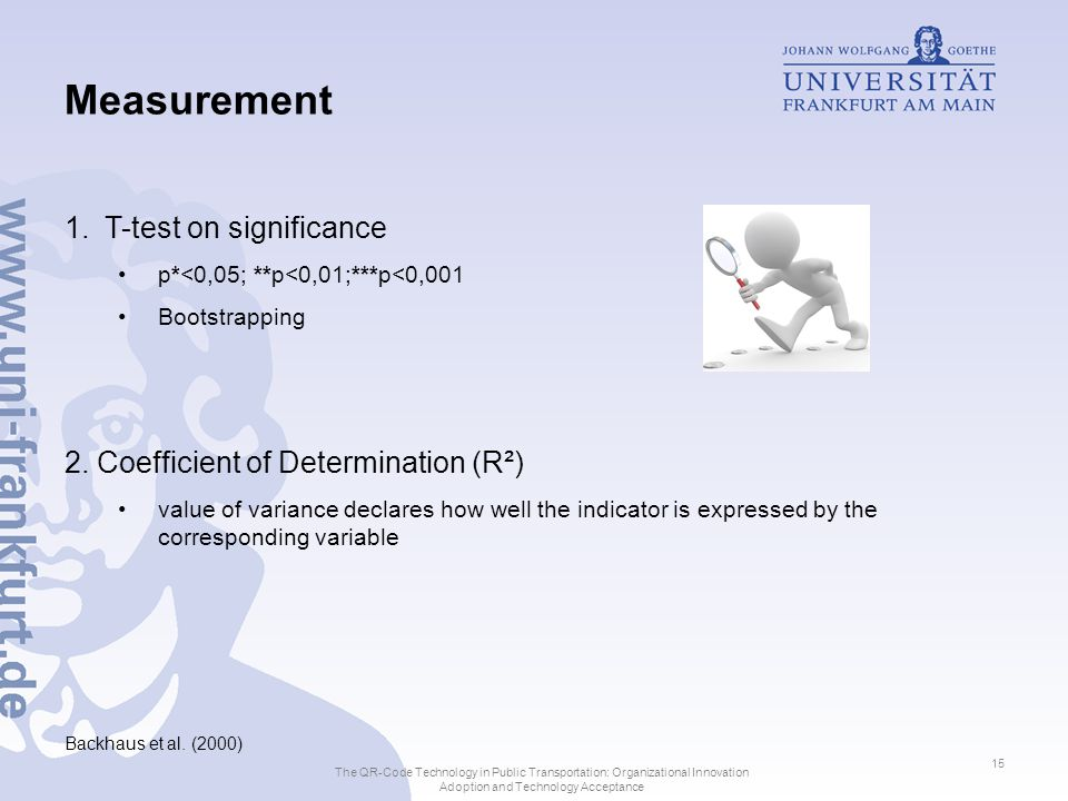 Measurement 1.T-test on significance p*<0,05; **p<0,01;***p<0,001 Bootstrapping 2.