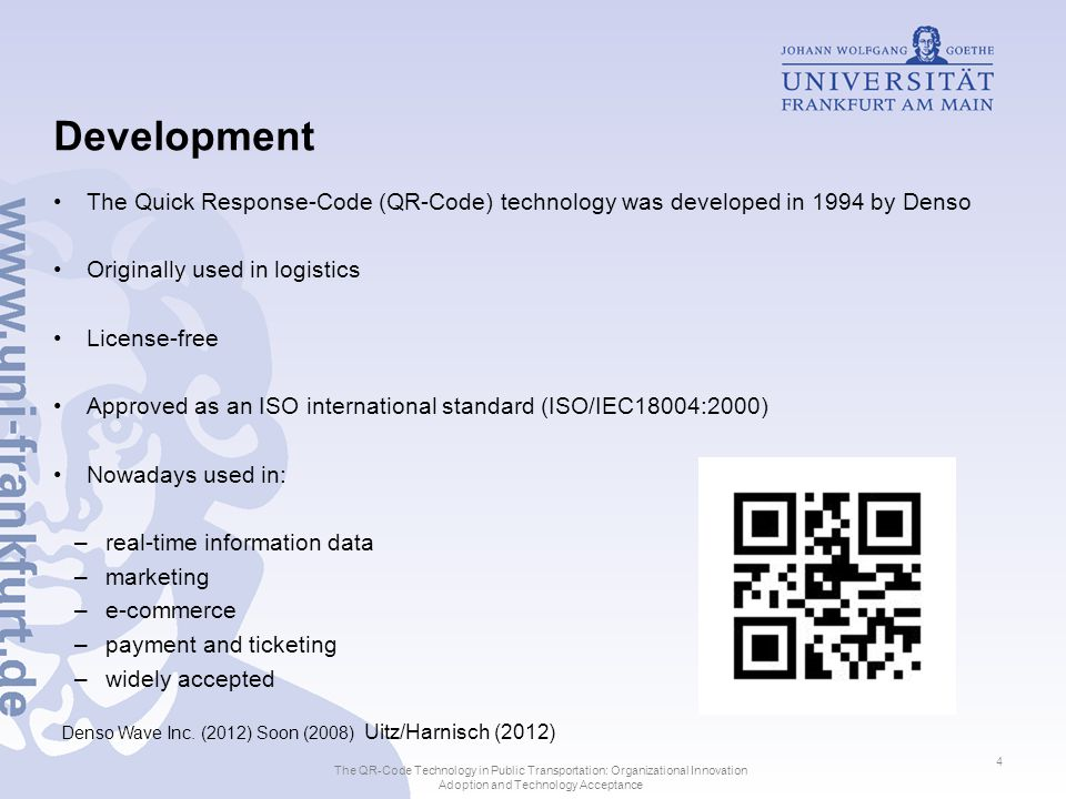 Technological Characteristics of QR- Codes and customer requirements for usage Technological Characteristics: 2D-Code Technology, 40different types Integrated error correction from 7% up to 30% Approximately 100 times more data compared to the linear 1D-Code: –7089 numerical or 4296 alphanumerical characters Support JIS Level 1, JIS Level 2, Kanji, Kana and Hiragana symbols.
