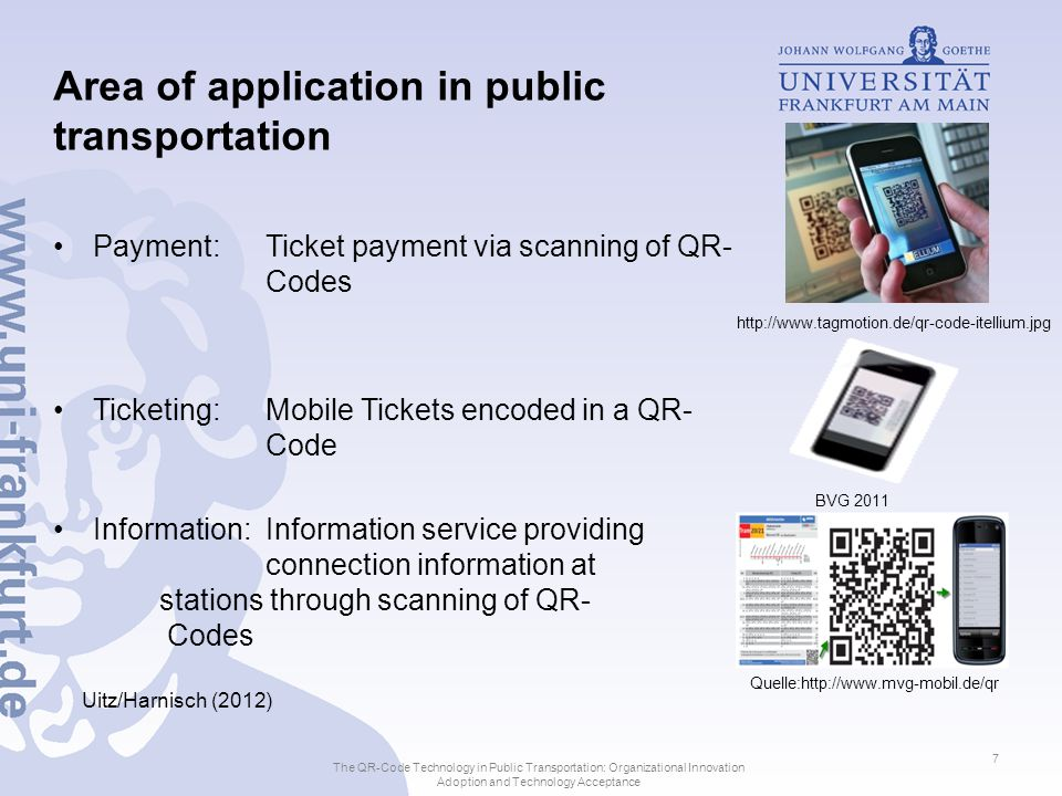 Index 1.Development, Technological Characteristics and Customer Requirements for Usage of Quick-Response Codes 2.Use and Acceptance of QR-Codes 3.Organizational Innovation Adoption of QR-Code Technology The QR-Code Technology in Public Transportation: Organizational Innovation Adoption and Technology Acceptance 8
