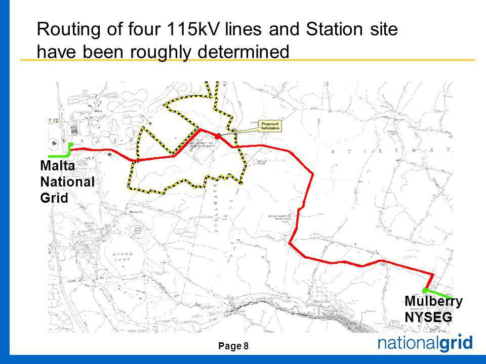 Page 8 Routing of four 115kV lines and Station site have been roughly determined Mulberry NYSEG Malta National Grid