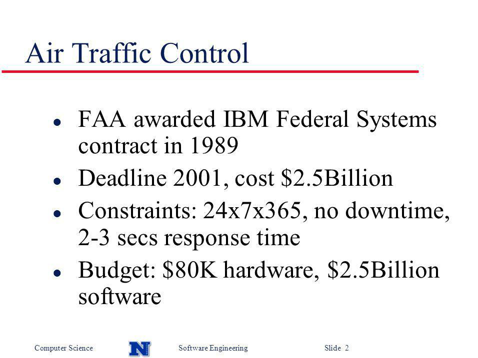 Computer ScienceSoftware Engineering Slide 3 ATC l 1994: Cost estimate > $5Billion, nothing delivered l IBM federal systems, bought by Loral, had already spent $2.3Billion l FAA enquiry: Not enough oversight over IBM FAA indecisive over requirements Technology had evolved faster than their ability to use it l 1995/6: Formation, NJ to develop stopgap system l Lockheed Martin bought Loral, then lost most of the contract to Raytheon