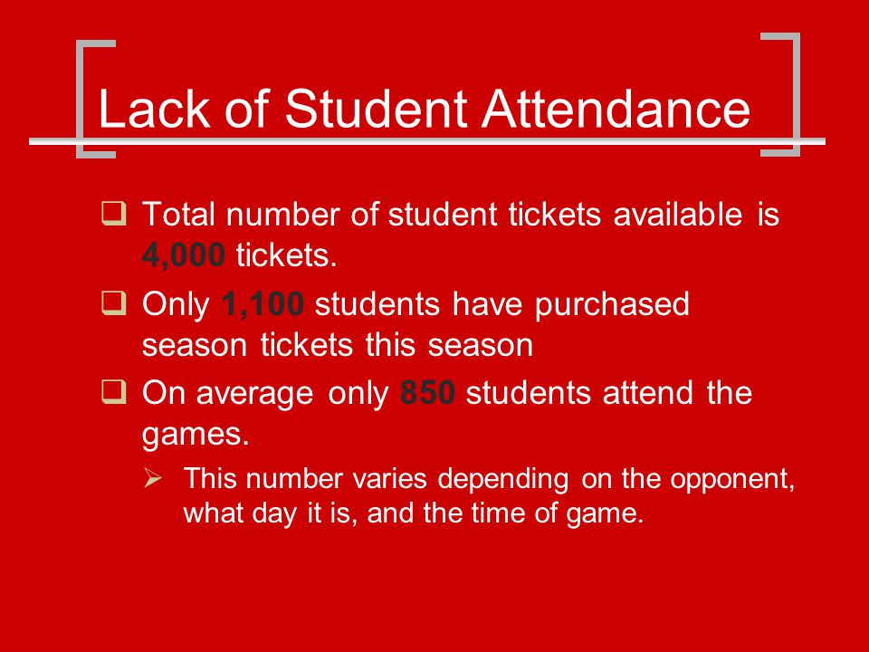 Lack of Student Attendance Total number of student tickets available is 4,000 tickets.
