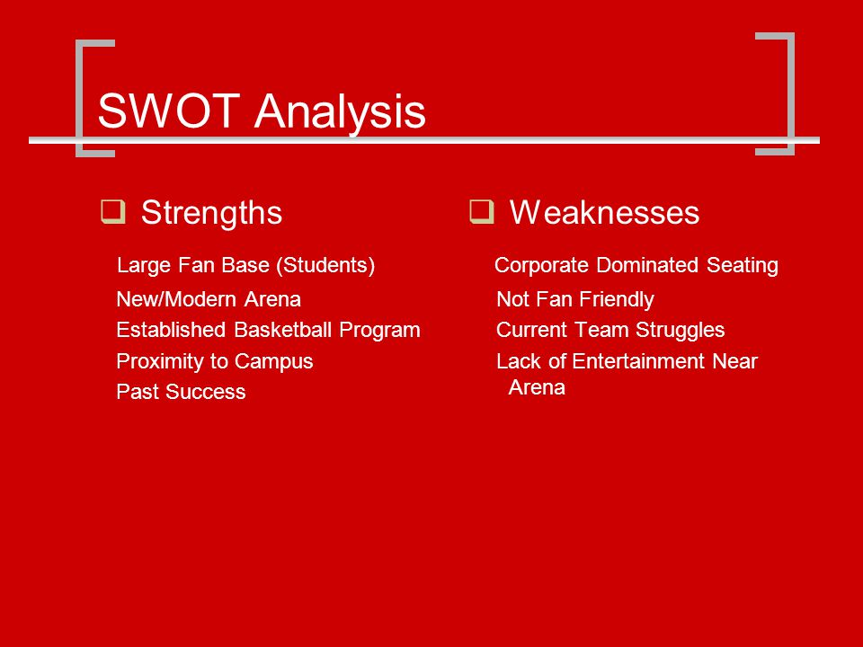 SWOT Analysis Strengths Large Fan Base (Students) New/Modern Arena Established Basketball Program Proximity to Campus Past Success Weaknesses Corporate Dominated Seating Not Fan Friendly Current Team Struggles Lack of Entertainment Near Arena
