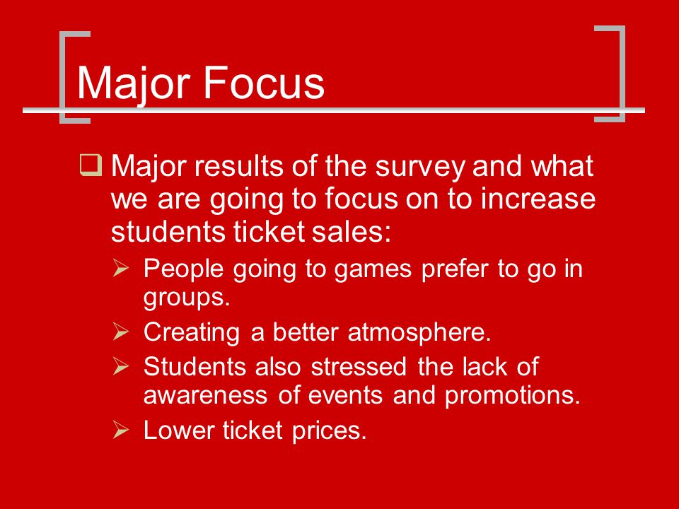 Additional Survey Results On average attended game with how many other students: 1 to 2 others 56% 3 to 4 others 36% 5+ 8% Ways to get students more interested Lower the price of tickets * More advertisements * Convenience (location and time) Better team