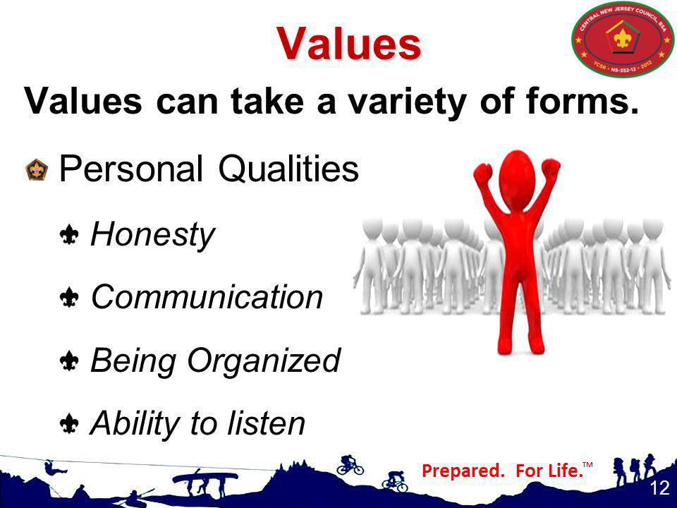 Values can take a variety of forms.