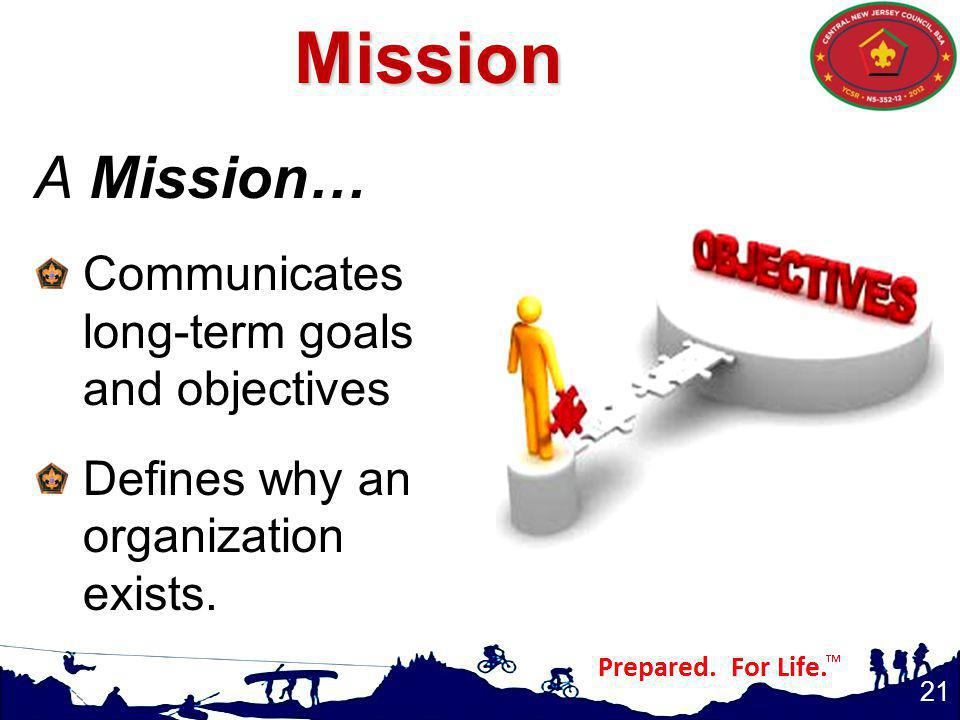 A Mission… Communicates long-term goals and objectives Defines why an organization exists.