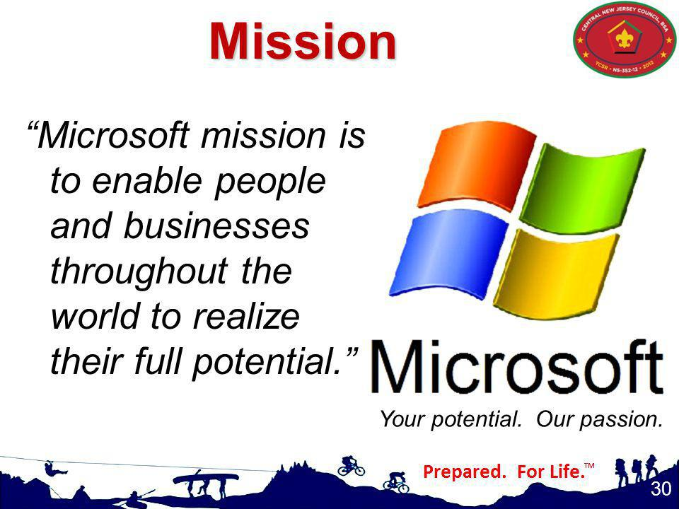 30 Microsoft mission is to enable people and businesses throughout the world to realize their full potential.Mission Your potential.