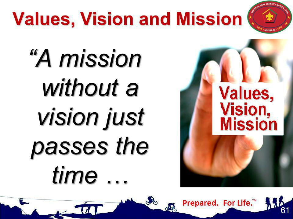 Values, Vision and Mission A mission without a vision just passes the time … 61