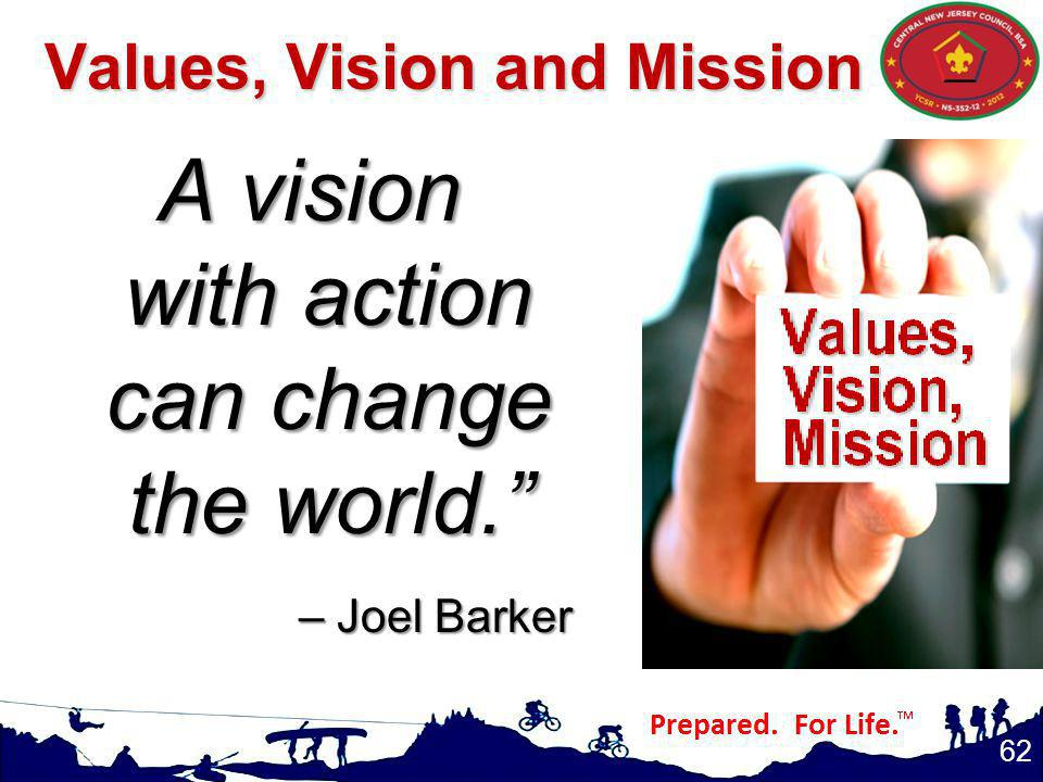 Values, Vision and Mission A vision with action can change the world. – Joel Barker 62
