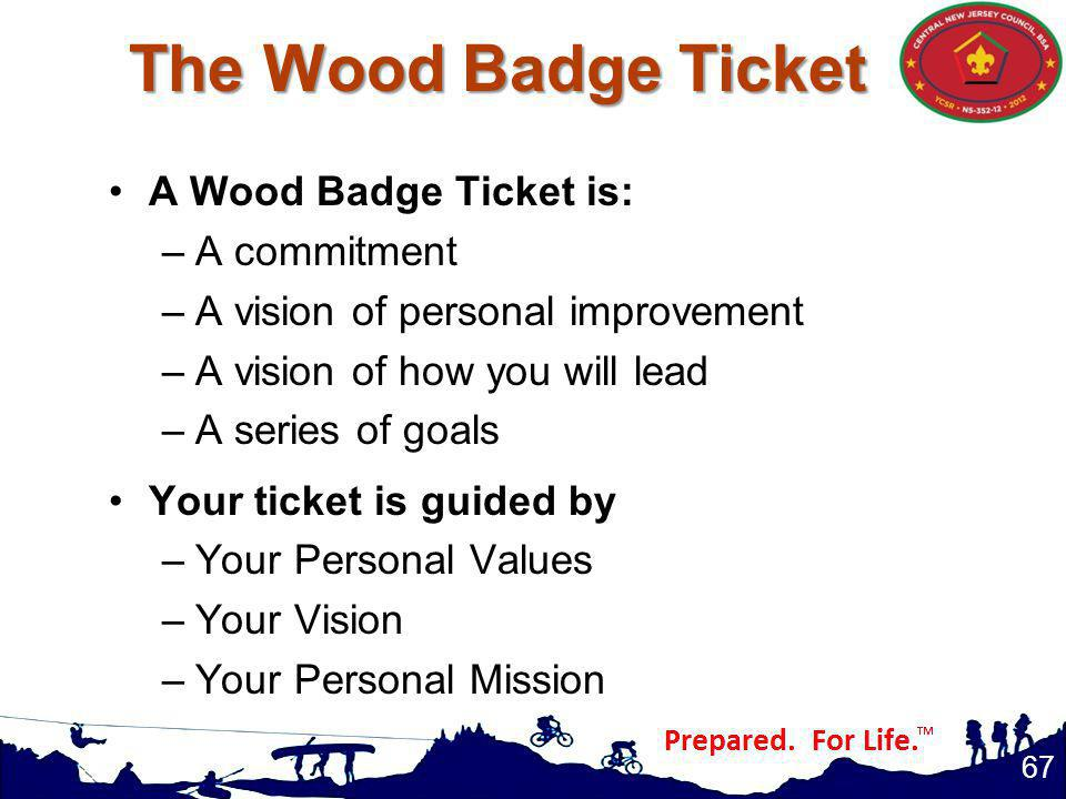A Wood Badge Ticket is: –A commitment –A vision of personal improvement –A vision of how you will lead –A series of goals Your ticket is guided by –Your Personal Values –Your Vision –Your Personal Mission 67