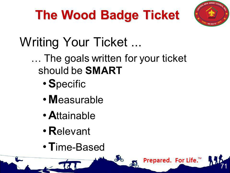 The Wood Badge Ticket Writing Your Ticket...