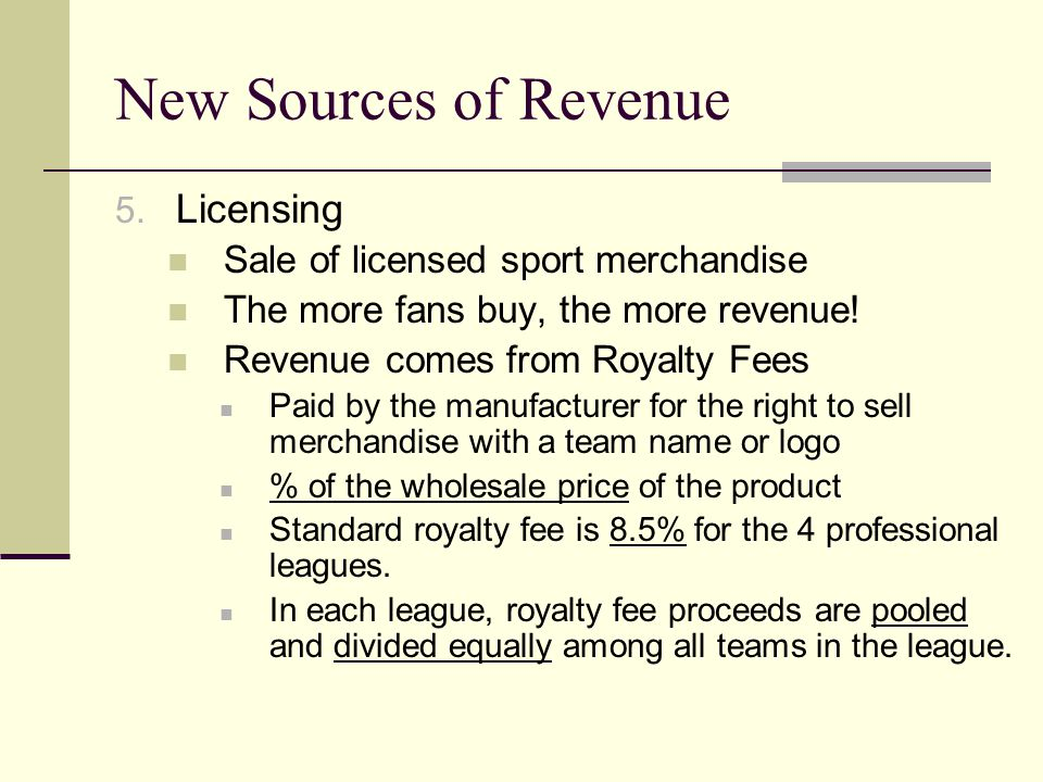 New Sources of Revenue 5. Licensing Sale of licensed sport merchandise The more fans buy, the more revenue! Revenue comes from Royalty Fees Paid by th
