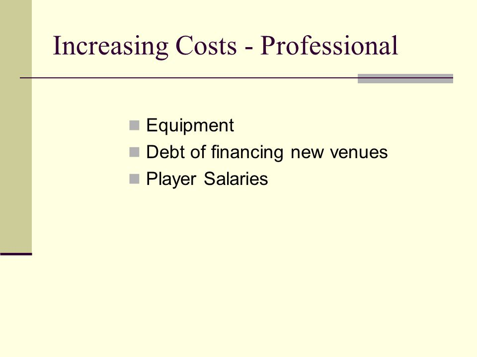 Increasing Costs - Professional Equipment Debt of financing new venues Player Salaries