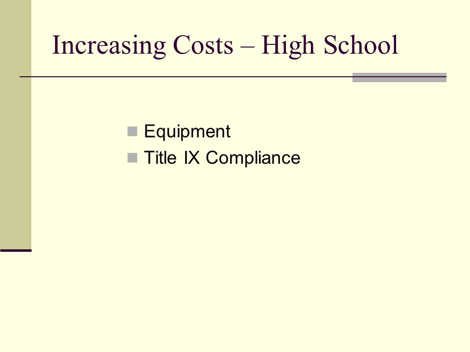 Increasing Costs – High School Equipment Title IX Compliance