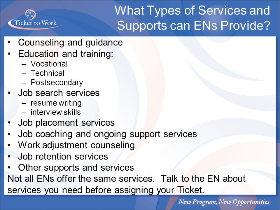 What Types of Services and Supports can ENs Provide.