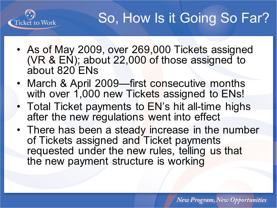 So, How Is it Going So Far? As of May 2009, over 269,000 Tickets assigned (VR & EN); about 22,000 of those assigned to about 820 ENs March & April 200