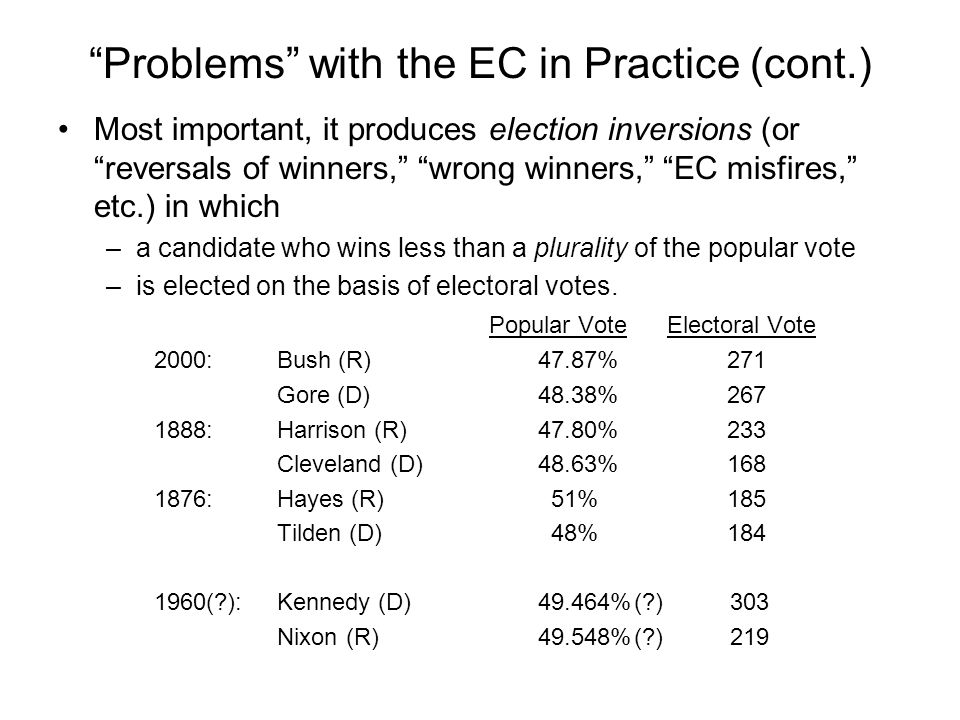 Problems with the EC in Practice (cont.) Most important, it produces election inversions (or reversals of winners, wrong winners, EC misfires, etc.) i
