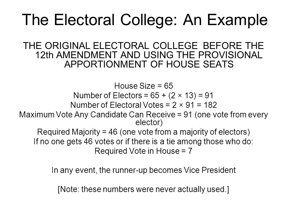 The Electoral College: An Example THE ORIGINAL ELECTORAL COLLEGE BEFORE THE 12th AMENDMENT AND USING THE PROVISIONAL APPORTIONMENT OF HOUSE SEATS Hous