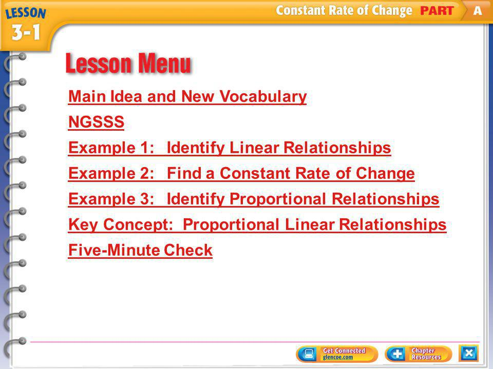 Lesson Menu Main Idea and New Vocabulary NGSSS Example 1:Identify Linear Relationships Example 2:Find a Constant Rate of Change Example 3:Identify Proportional Relationships Key Concept:Proportional Linear Relationships Five-Minute Check