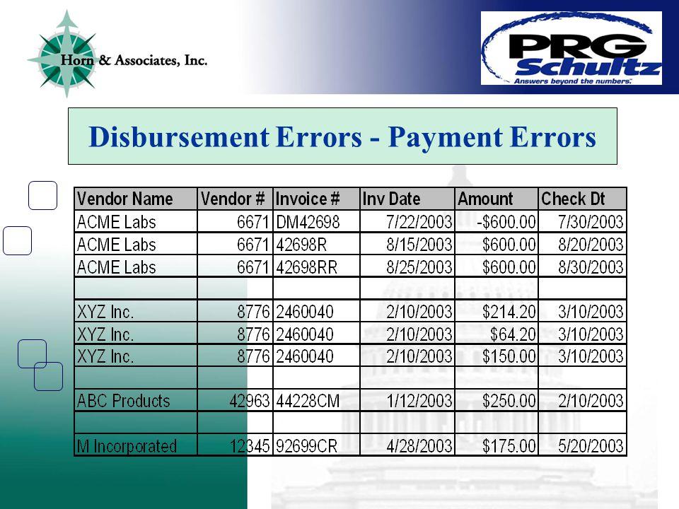Disbursement Errors - Payment Errors