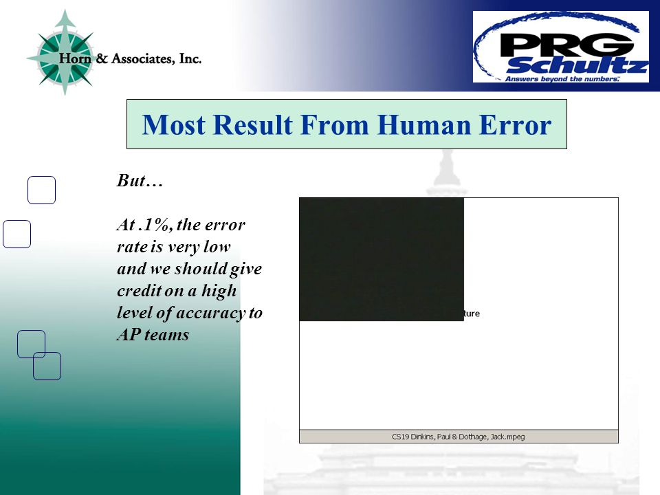 Most Result From Human Error But… At.1%, the error rate is very low and we should give credit on a high level of accuracy to AP teams
