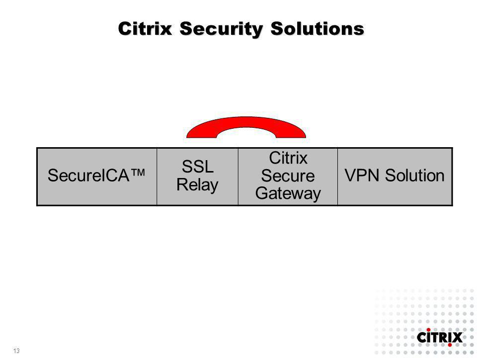 13 Citrix Security Solutions SSL Solutions CSG is a simple and secure, ICA only solution SecureICA SSL Relay Citrix Secure Gateway VPN Solution