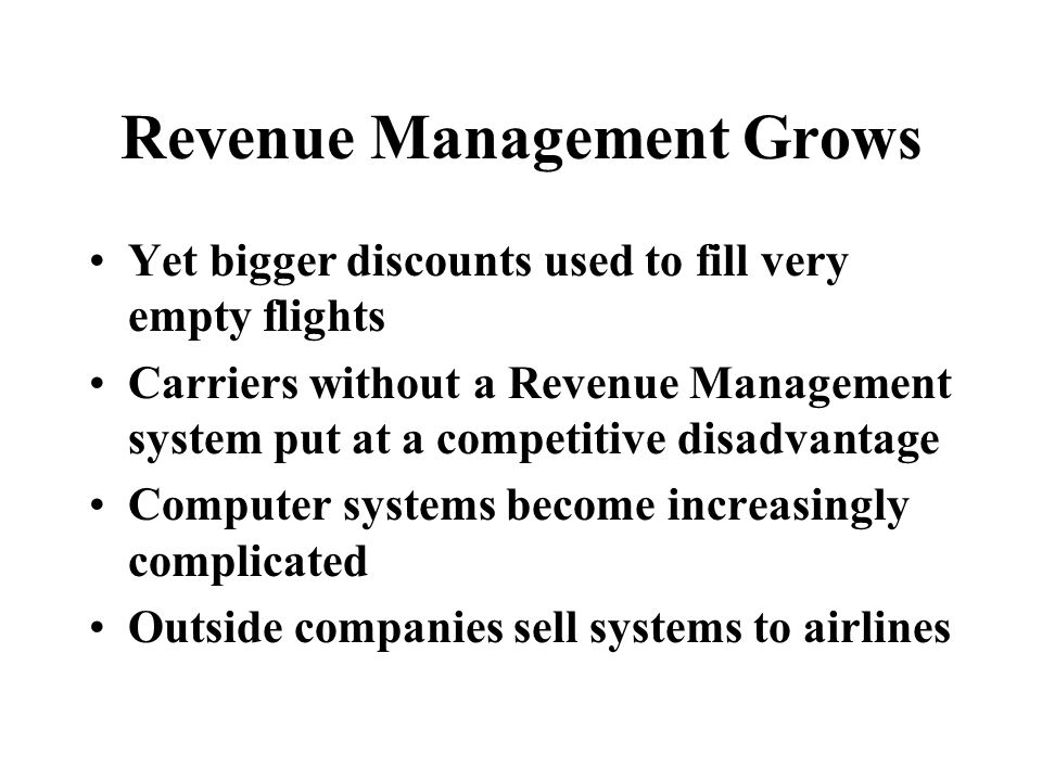 Business Fares are for Premium Service Business Travel on long-haul demands high quality of service Comfort/food/airport/luggage/reliable departure This is the most valuable part of demand highest fare, least fare sensitive least dependent on economic cycles most frequent flyers Revenue Management protects Business Seats may save extra space in case a competitor spills traffic does not overbook business class seats - cannot have oversales of a premium customer $1900