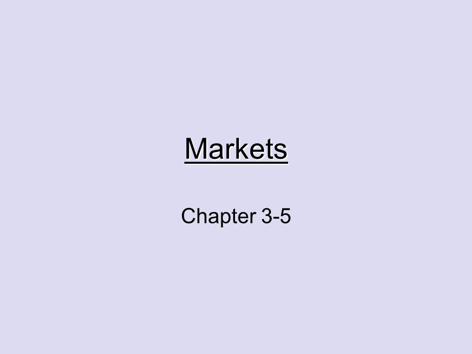 Markets Chapter 3-5
