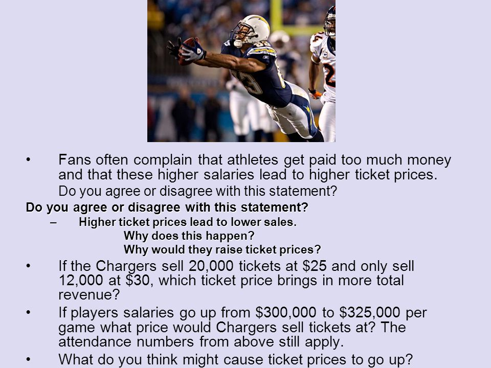Fans often complain that athletes get paid too much money and that these higher salaries lead to higher ticket prices.