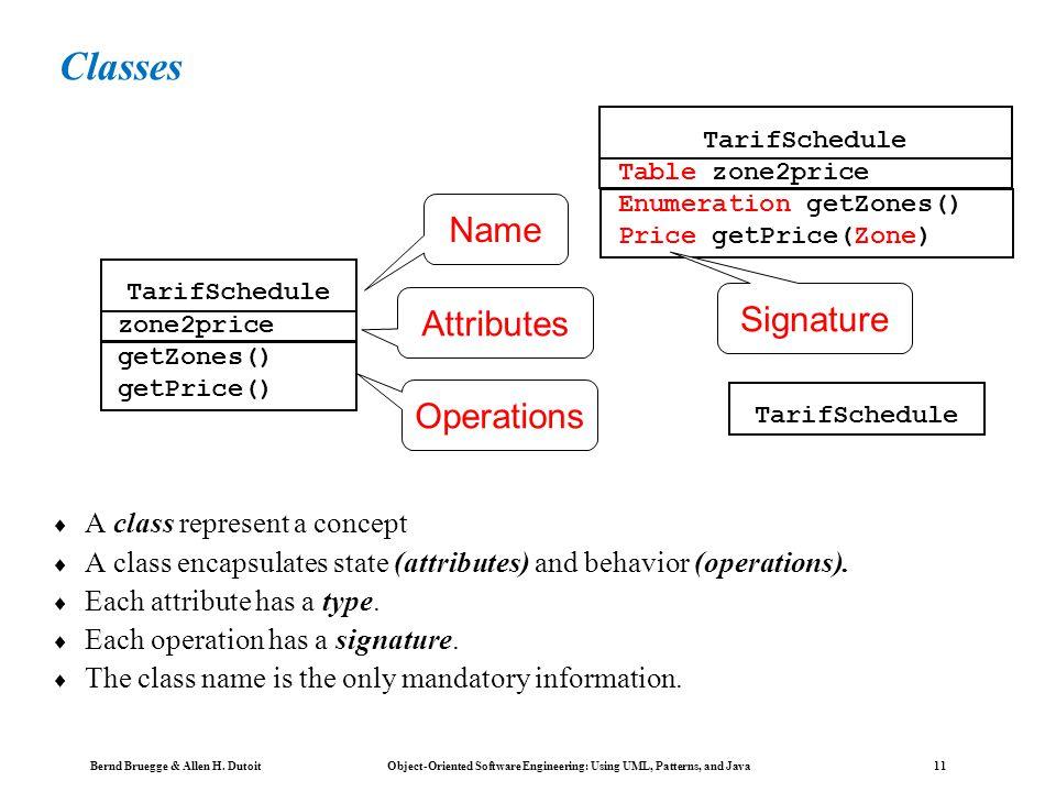 Bernd Bruegge & Allen H. Dutoit Object-Oriented Software Engineering: Using UML, Patterns, and Java 10 Class Diagrams Class diagrams represent the str