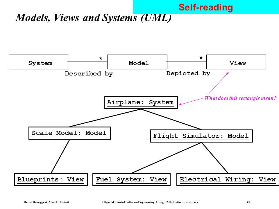 Bernd Bruegge & Allen H. Dutoit Object-Oriented Software Engineering: Using UML, Patterns, and Java 39 Systems, Models and Views Aircraft Flightsimula
