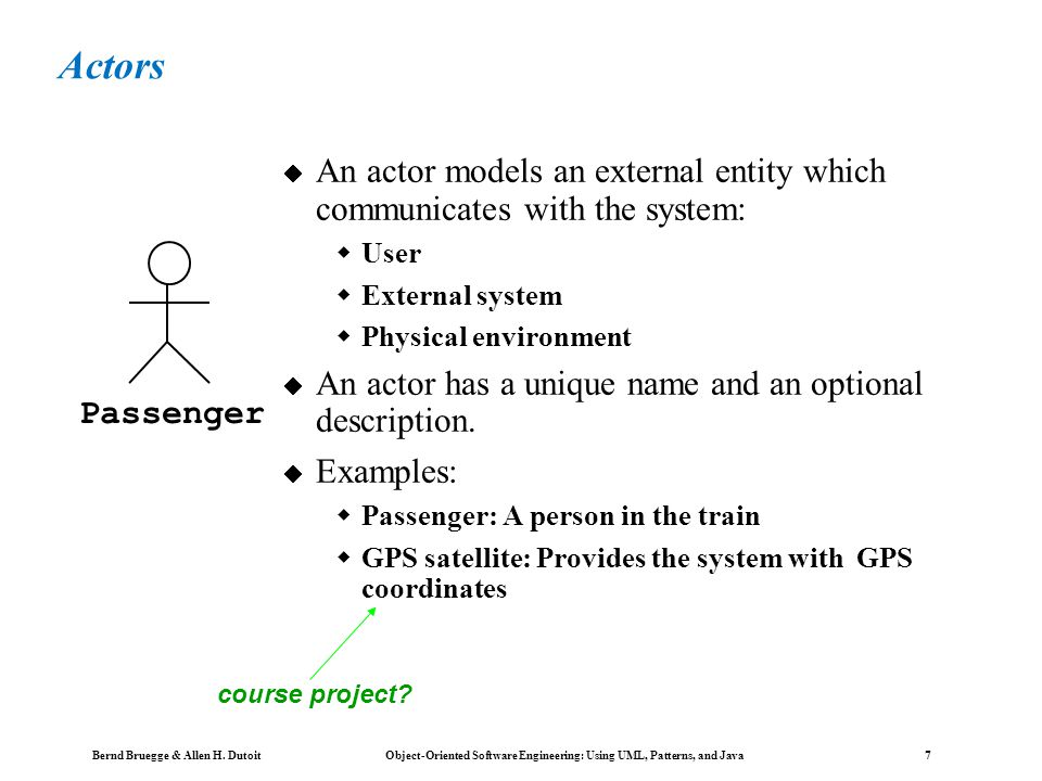 Bernd Bruegge & Allen H. Dutoit Object-Oriented Software Engineering: Using UML, Patterns, and Java 6 Use Case Diagrams Used during requirements elici