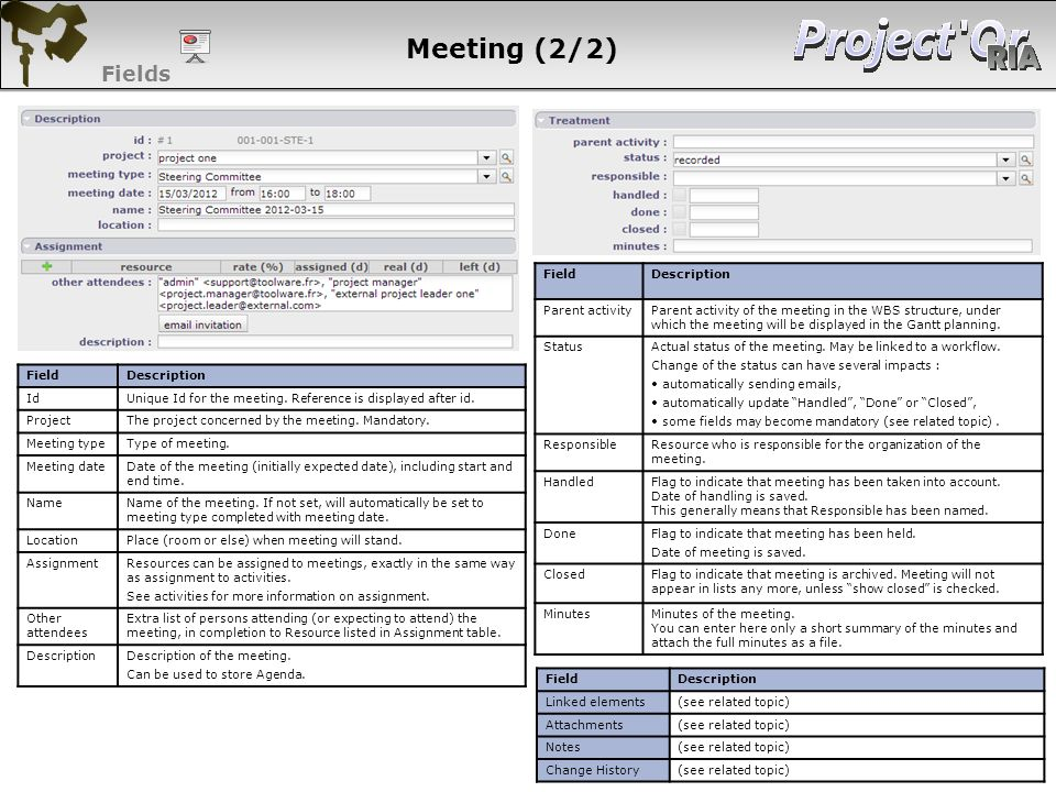 Fields FieldDescription Parent activity Parent activity of the meeting in the WBS structure, under which the meeting will be displayed in the Gantt pl