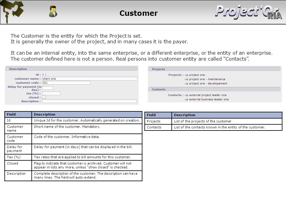 Customer FieldDescription IdUnique Id for the customer. Automatically generated on creation. Customer name Short name of the customer. Mandatory. Cust