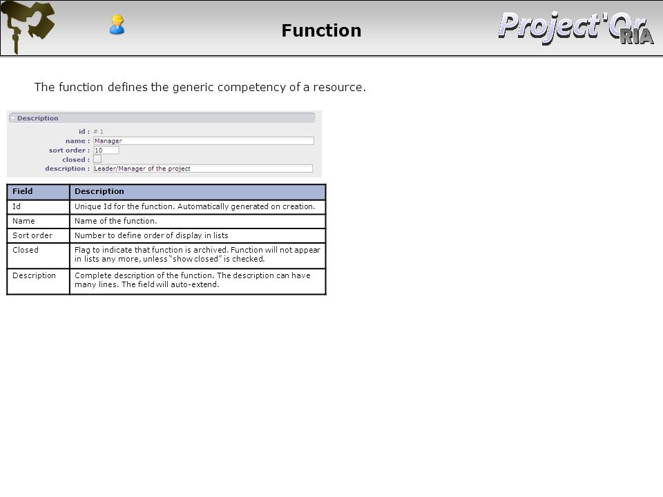 Function FieldDescription IdUnique Id for the function. Automatically generated on creation. NameName of the function. Sort orderNumber to define orde