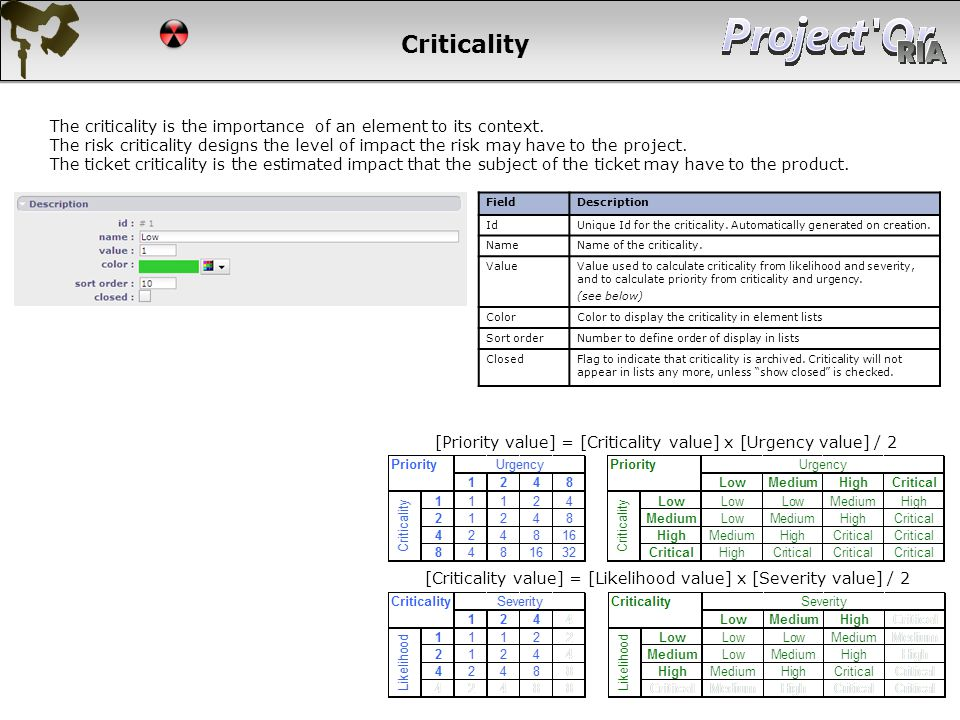 Criticality The criticality is the importance of an element to its context. The risk criticality designs the level of impact the risk may have to the