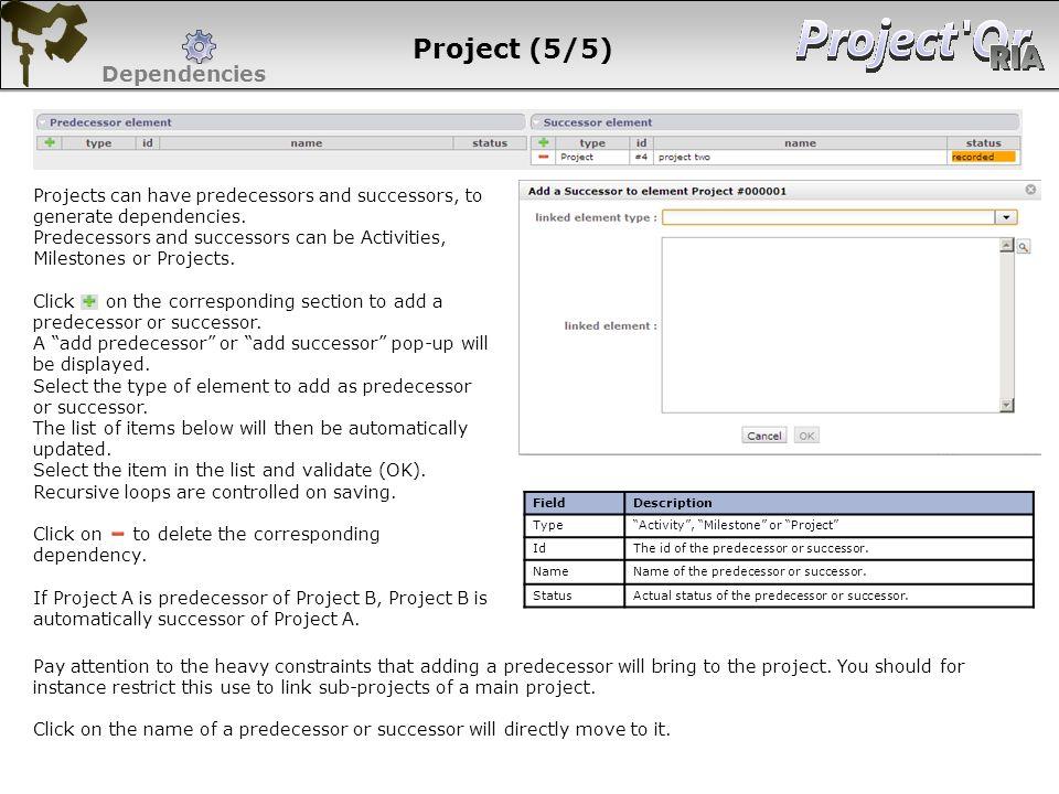 Project (5/5) Dependencies FieldDescription TypeActivity, Milestone or Project IdThe id of the predecessor or successor. NameName of the predecessor o