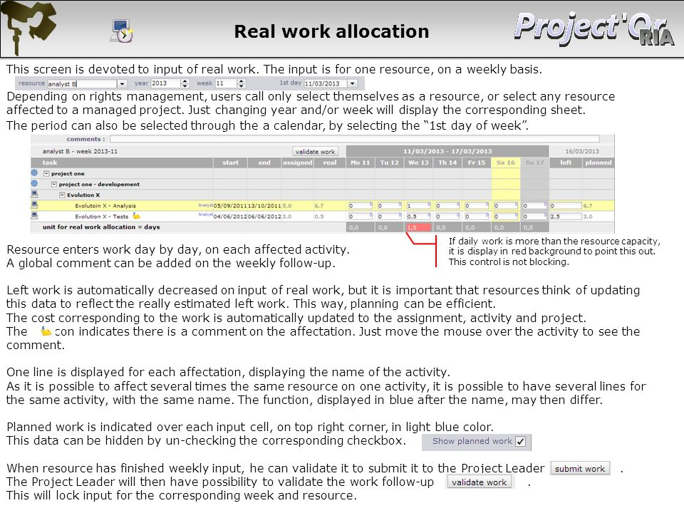 Real work allocation This screen is devoted to input of real work. The input is for one resource, on a weekly basis. Depending on rights management, u