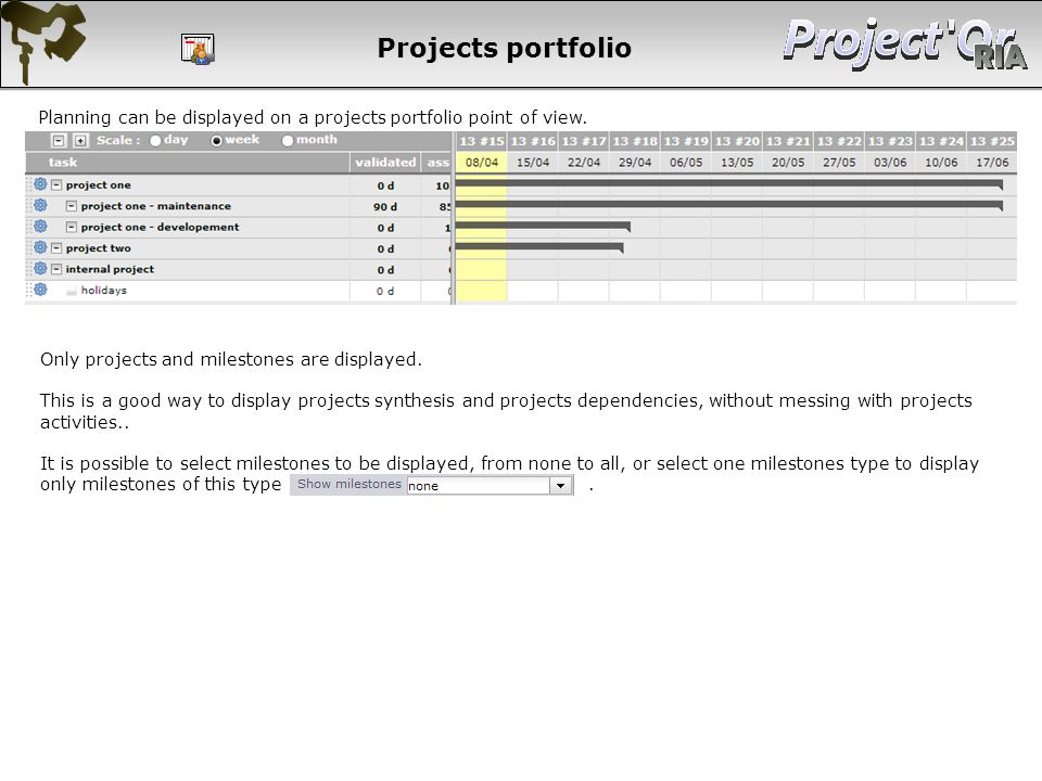 Planning can be displayed on a projects portfolio point of view. Projects portfolio Only projects and milestones are displayed. This is a good way to