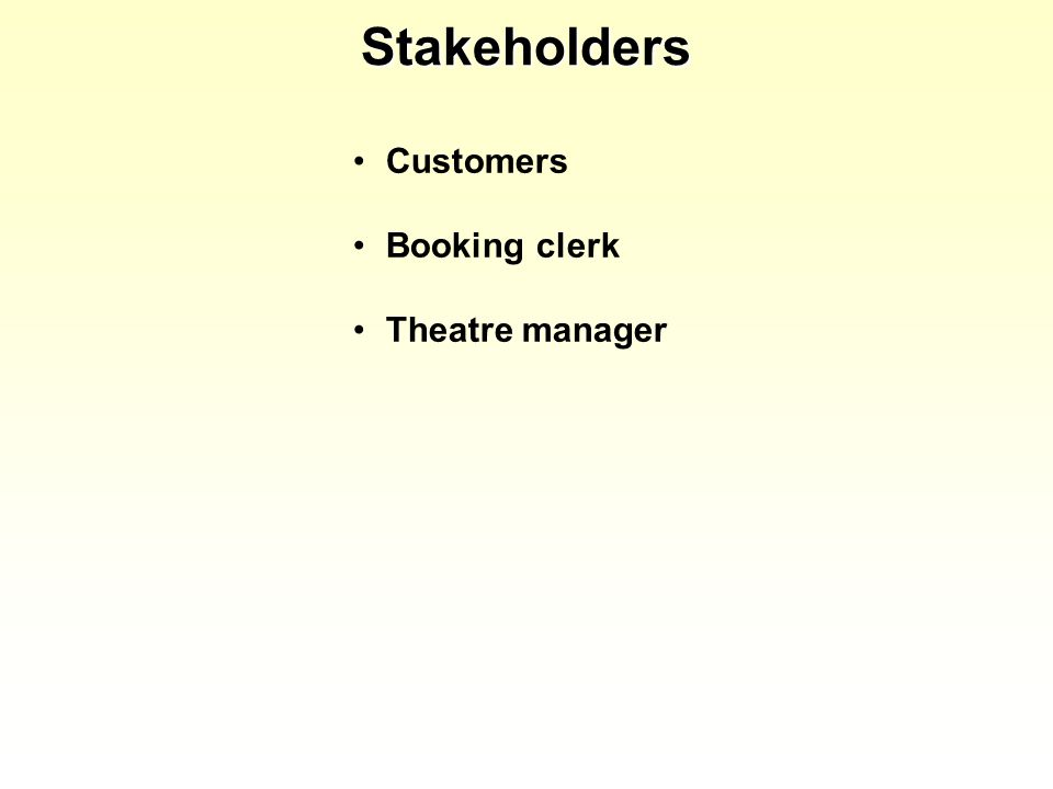 Stakeholders Customers Booking clerk Theatre manager