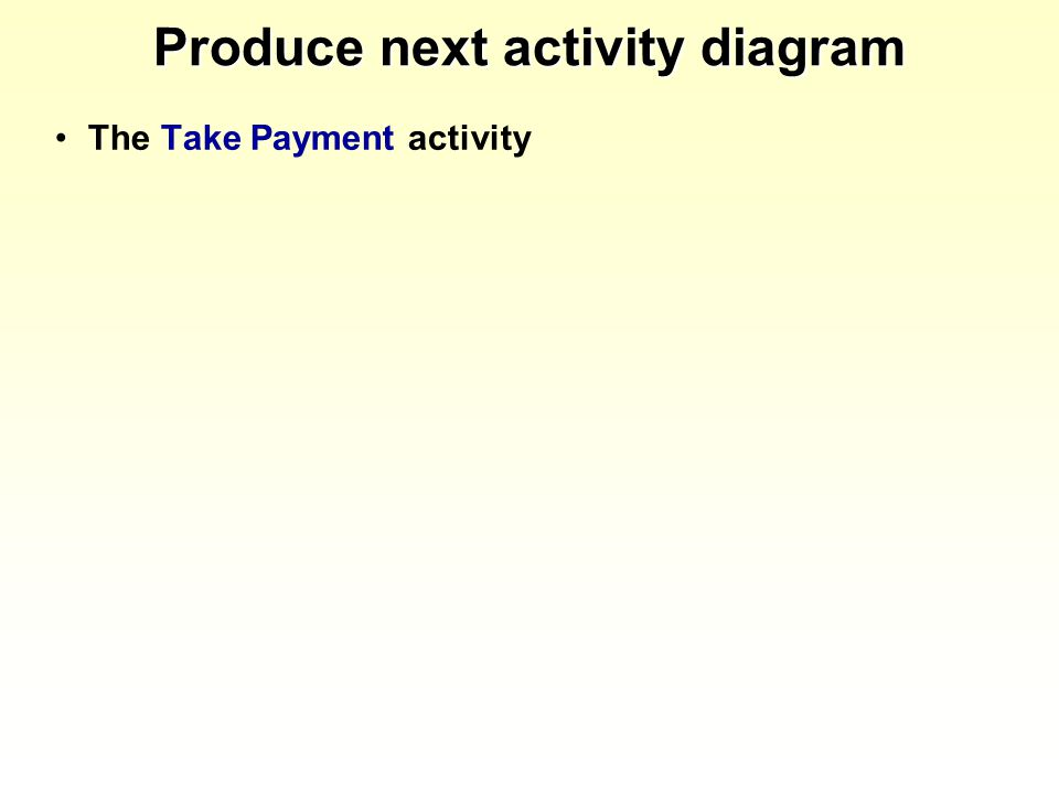 Produce next activity diagram The Take Payment activity